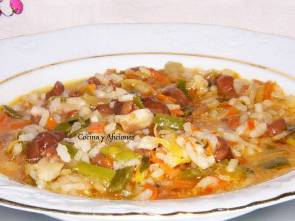 Arroz caldoso con verduras y setas 3