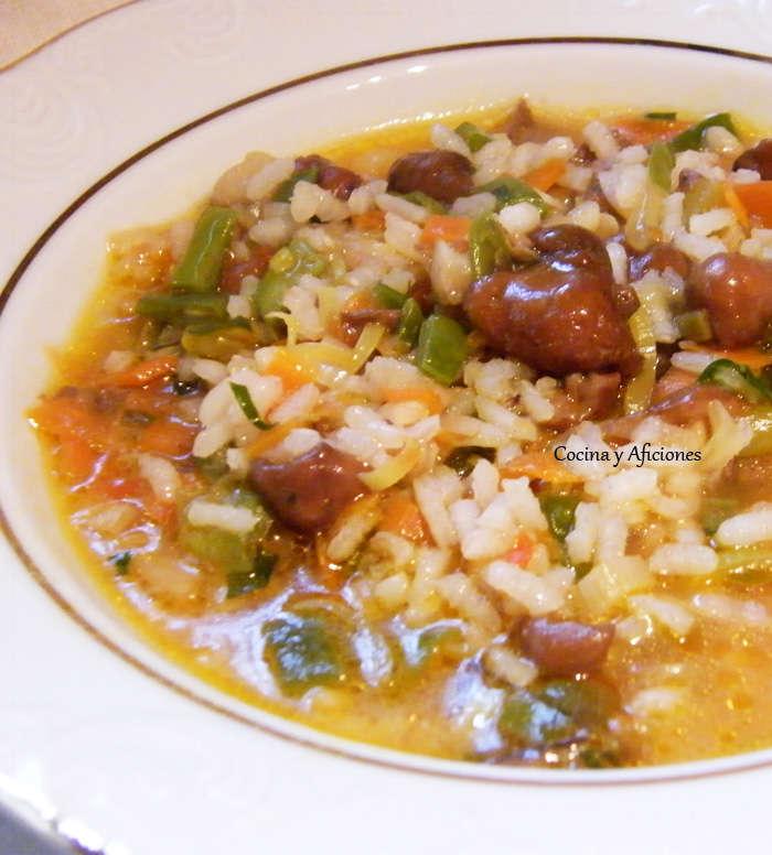 Arroz caldoso con verduras y setas, receta paso a paso