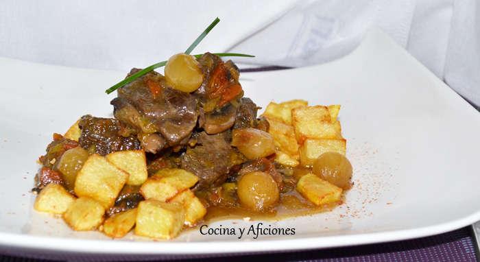 Carne de ternera guisada con cebolletas al estilo de mi hermana Rita, receta paso a paso