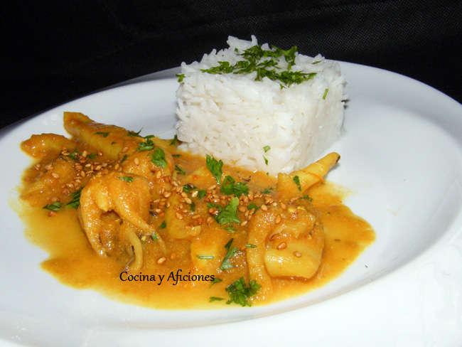 Curry balines  de sepia, receta sencilla paso a paso.