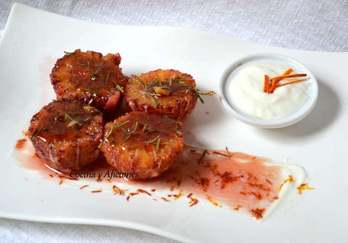 Naranjas quemadas con romero, receta paso a paso.