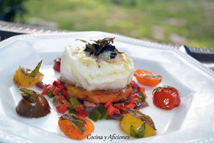 Tapa de Bacalao con aromas de los Montes de Toledo y hierba Luisa, receta paso a paso.
