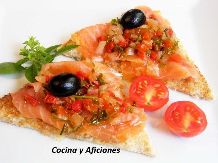Tapa loca de mojo y salmón, receta