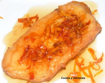 Torrijas  con  almíbar y naranjas confitadas, receta paso a paso