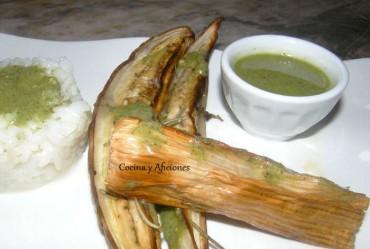 Berenjenas, puerros y arroz jazmin con salsa de hierbas, receta paso a paso.