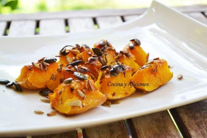 calabaza asada con aceite de hierba luisa y pipas variadas