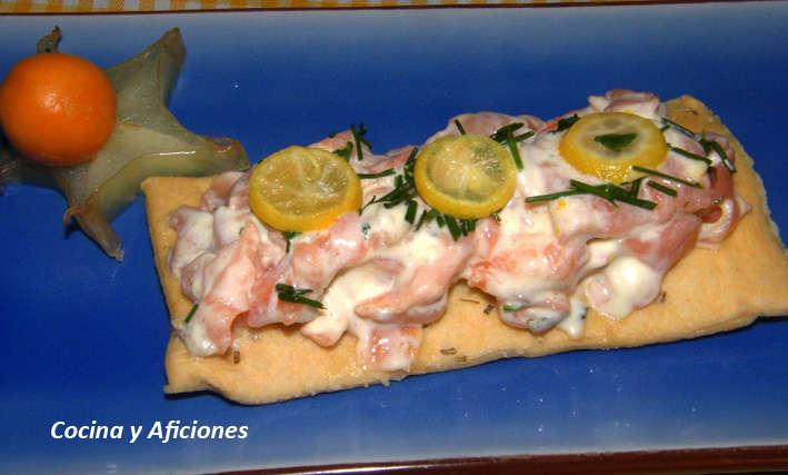 Canapé de salmón con mahonesa de cítricos y limequat, receta
