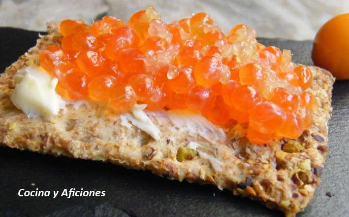 """Canapé de """"caviares"""":  salmón y cítrico, receta"""