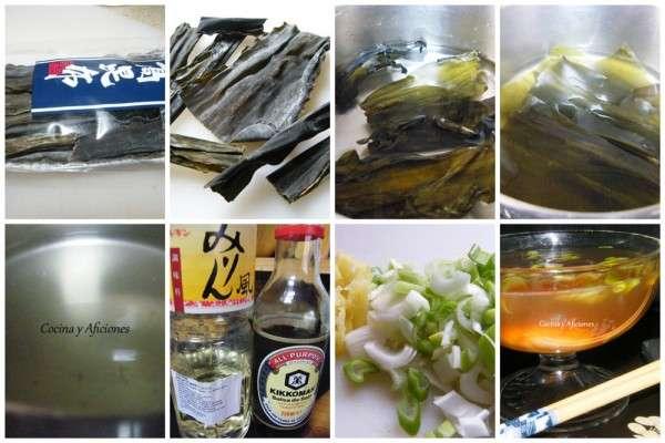 collage dashi, como preparar un caldo dashi paso a paso