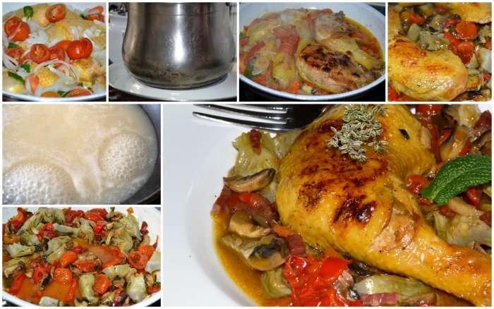 collage  de pollo en su jugo
