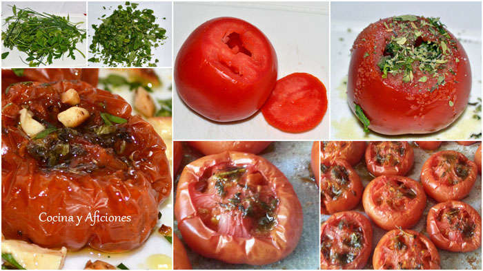 collage tomate hierbas