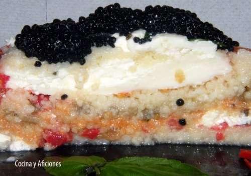 corte del pastel de cuscus y burratas m