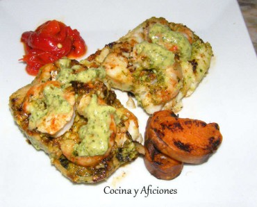 Corvina y gambones  con mojo caribeño, receta paso a paso