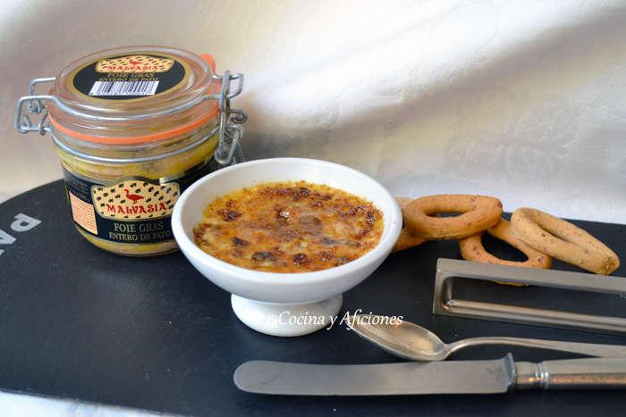 Crème brûlée de foie, higos y nueces, receta paso a paso.