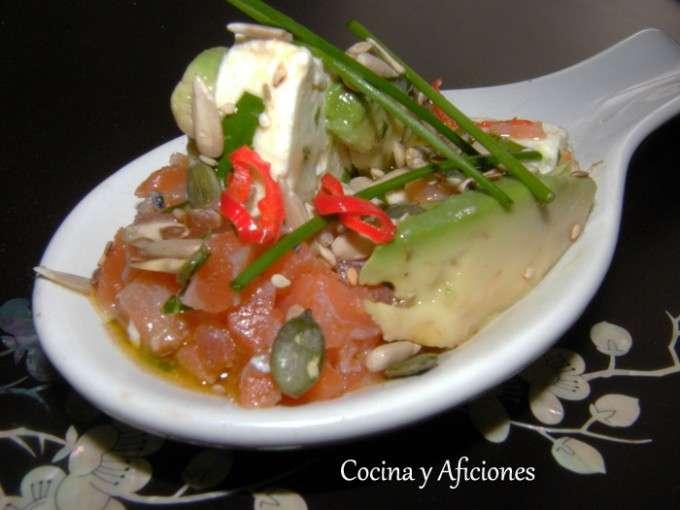 cuchara de queso marinado con salmon 3