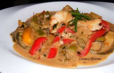 Curry fresco  de verdura y gambas, receta paso a paso