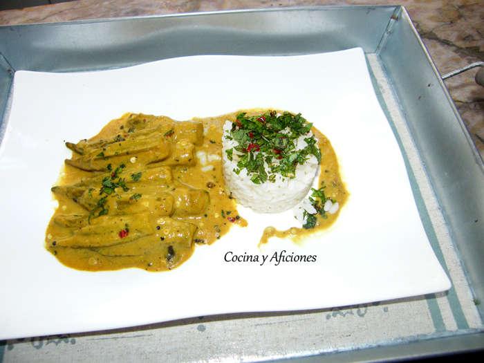 Curry inglés de ocra, receta paso a paso.