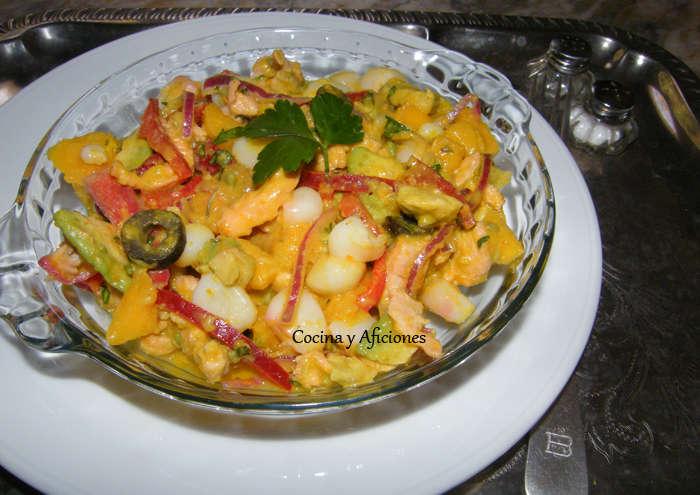Ensalada de cebiche de salmon y gambas con mahonesa de ají amarillo, receta paso a paso