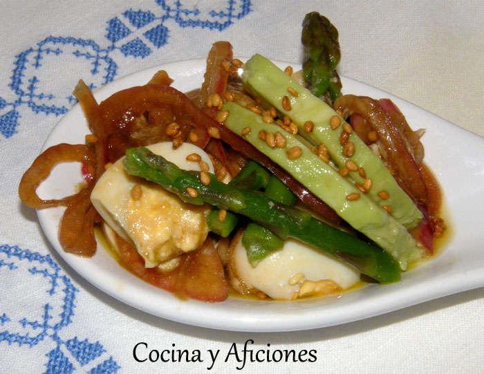 Ensalada marinada en vinagreta de soja, receta
