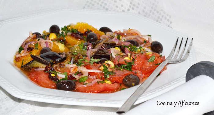 ensalada de berenjena, naranja y pistachos 4