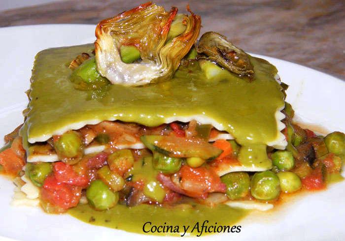 lasaña de verduras con bechamel de clorofila receta deliciosa