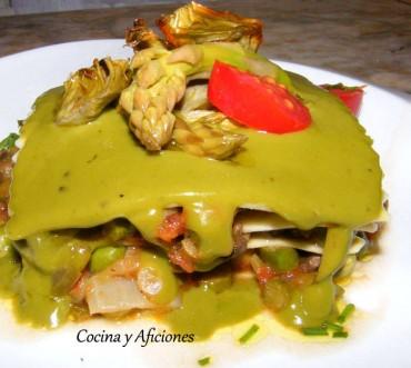 Lasaña de verduras de primavera con bechamel de clorofila, receta paso a paso