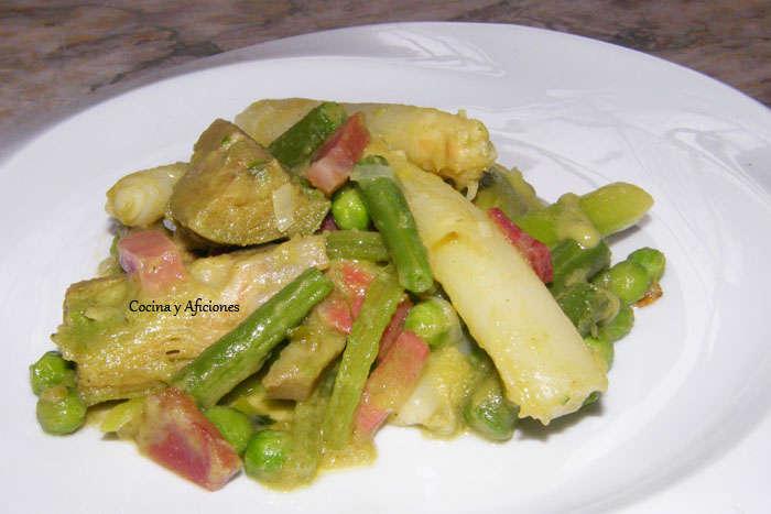 Menestra de verduras del restaurante 33 de Tudela, receta paso a paso.