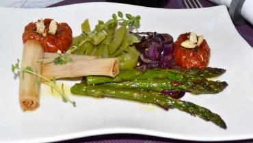 Menestra de verduras en textura, receta paso a paso.