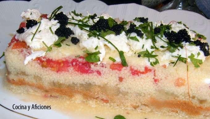 pastel de cuscus s, burrata, ok