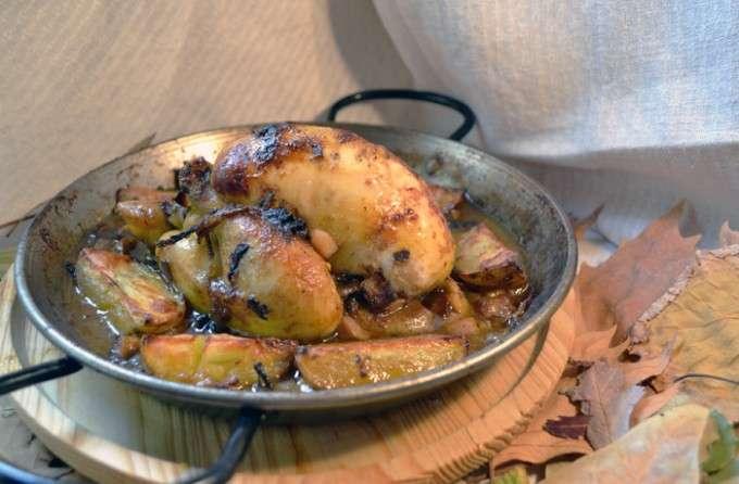 pollo con ajo negro y setas 17