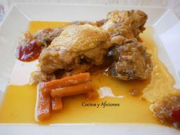 Pollo de corral en escabeche clásico, receta