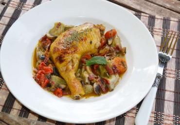 Pollo y verduras en su jugo, receta paso a paso