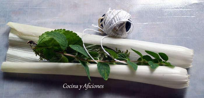preparando el bouquet garni
