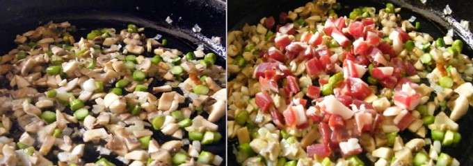 preparando la base del arroz