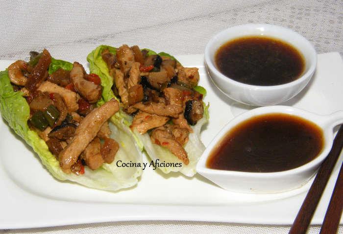 Carne al estilo chino en hoja de lechuga (San Choi Bau), receta paso a paso