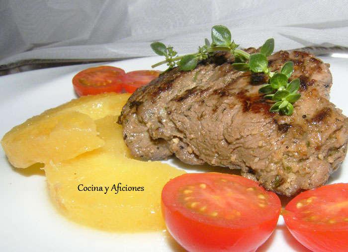 Solomillo de vaca macerado con mostaza y hierbas, receta paso a paso