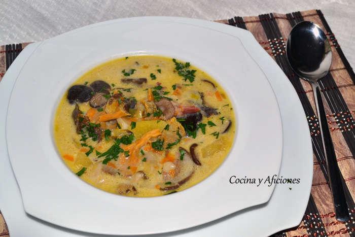 Sopa de hongos y setas (zupa grzybowa), receta polaca paso a paso.
