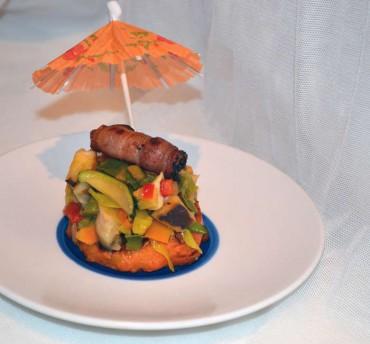Tapa de batata y verduritas, receta  paso a paso.