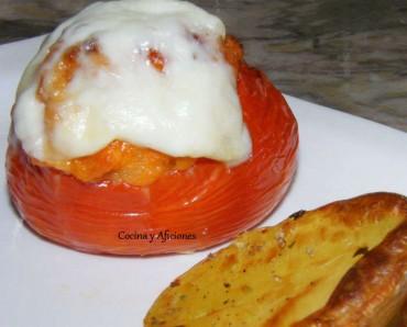Tomates rellenos con farsa de pan, receta paso a paso