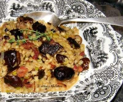 trigo pelado con seta y jamon iberico 3