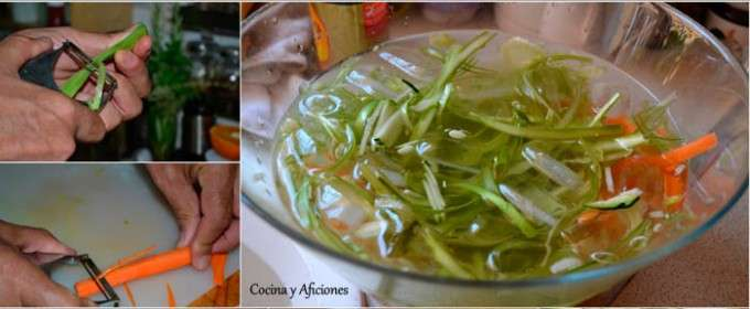 preparando los espaguetis de verduras